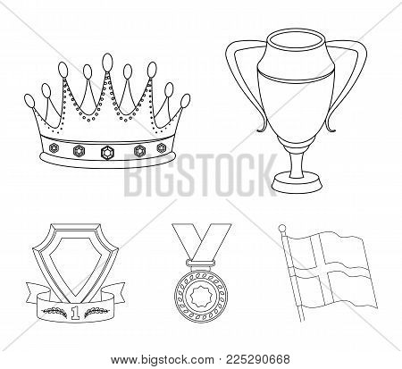 A silver cup, a gold crown with diamonds, a medal of the laureate, a gold sign with a red ribbon.Awards and trophies set collection icons in outline style vector symbol stock illustration .