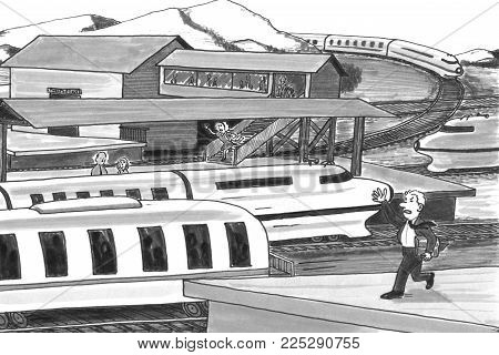 Grayscale Illustration Of A Man And A Woman On Opposite Platforms Chasing After Trains. Two Trains T