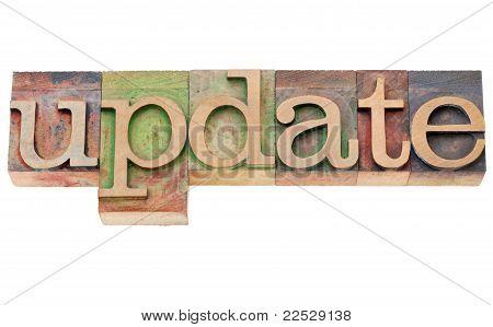Update - Wort im Buchdruck-Typ