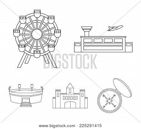 Airport, ferris wheel, stadium, castle.Building set collection icons in outline style vector symbol stock illustration .