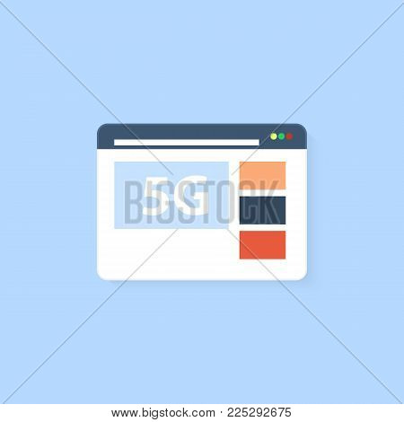 Web browser with connection 5G high-speed Internet on a white background. Vector illustration .