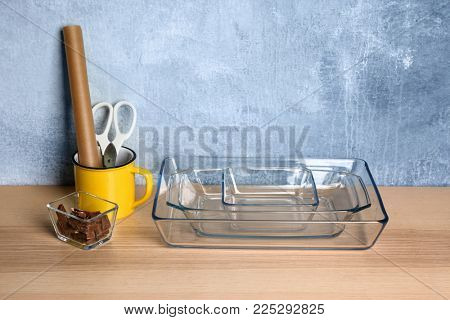 Kitchenware for preparing pastries on table