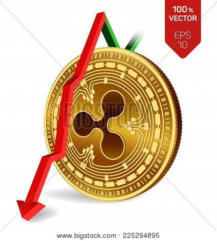 Ripple. Fall. Red arrow down. Ripple index rating go down on exchange market. Crypto currency. 3D isometric Physical Golden coin isolated on white background. Vector illustration