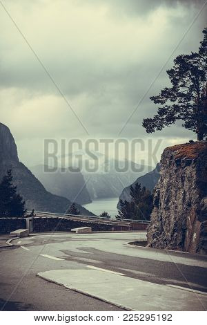 Tourism and travel. Scenic view of the Aurland fjord landscape and Stegastein lookout platform, Norway Scandinavia.