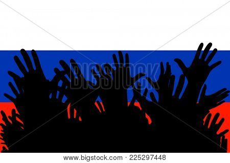 Hands up silhouettes on a Russian Federation flag. Crowd of fans of soccer, games, cheerful people at a party. Banner, card, poster.