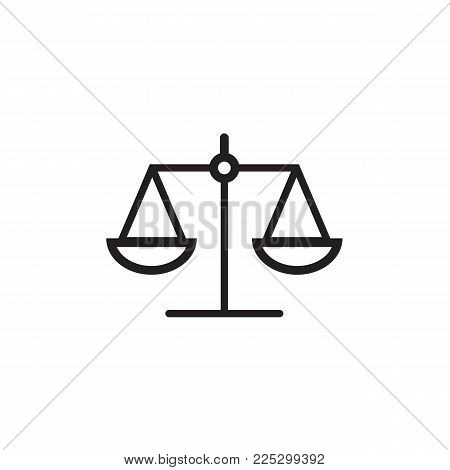 Law Scale Icon In Flat Style Isolated On Background.