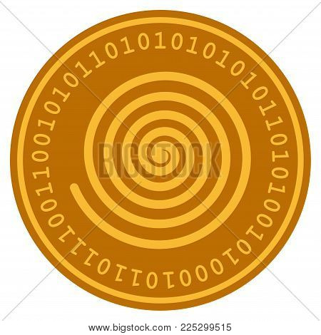 Hypnosis Spiral golden digital coin icon. Vector style is a gold yellow flat coin cryptocurrency symbol.