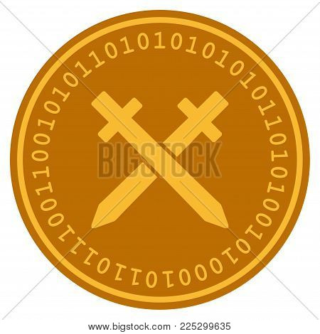 Crossing Swords golden digital coin icon. Vector style is a gold yellow flat coin cryptocurrency symbol.