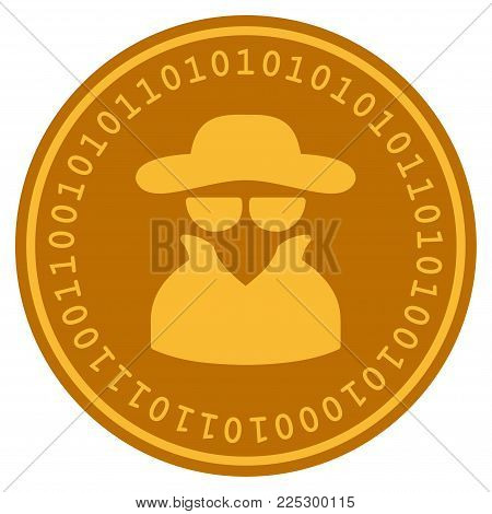 Spy golden digital coin icon. Vector style is a gold yellow flat coin cryptocurrency symbol.