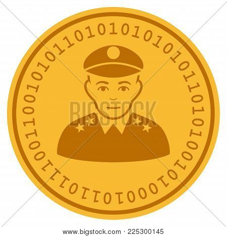 Army General golden digital coin icon. Vector style is a gold yellow flat coin cryptocurrency symbol.