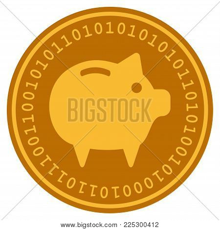 Piggy Bank golden digital coin icon. Vector style is a gold yellow flat coin cryptocurrency symbol.