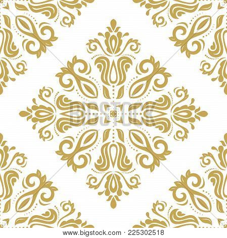 Orient vector classic golden pattern. Seamless abstract background with vintage elements. Orient background