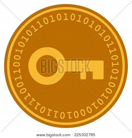 Key golden digital coin icon. Vector style is a gold yellow flat coin cryptocurrency symbol.