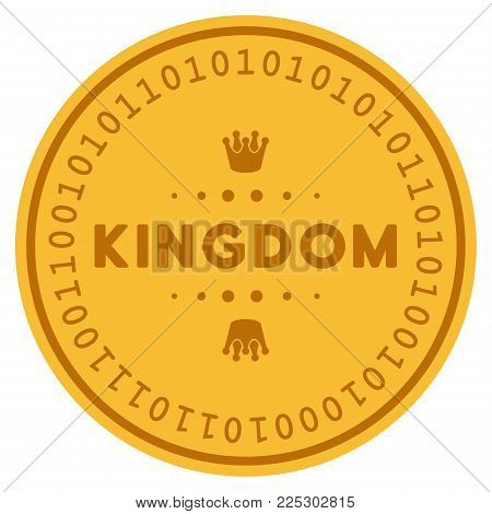 Kingdom Caption golden digital coin icon. Vector style is a gold yellow flat coin cryptocurrency symbol.