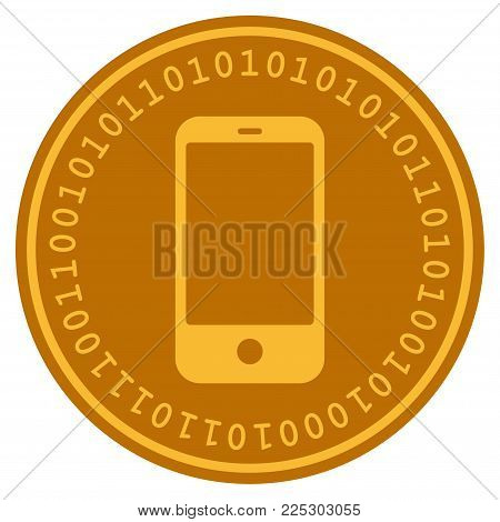 Smartphone golden digital coin icon. Vector style is a gold yellow flat coin cryptocurrency symbol.