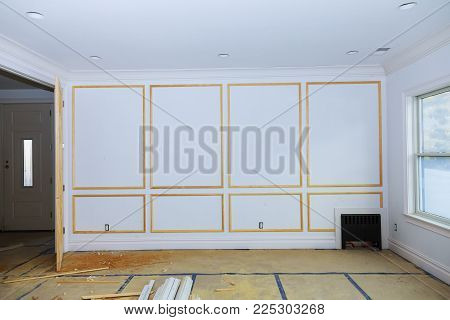 Interior construction of housing room under construction Building construction gypsum plaster walls