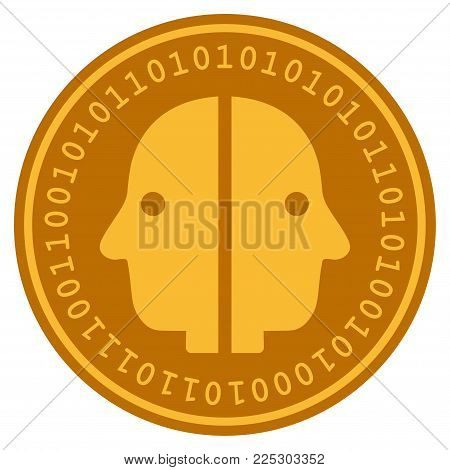 Dual Face golden digital coin icon. Vector style is a gold yellow flat coin cryptocurrency symbol.