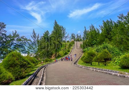 Group Of Tourist Visit The Tip Of Borneo In Kudat,sabah.its Located In Kudat District & One Of The M