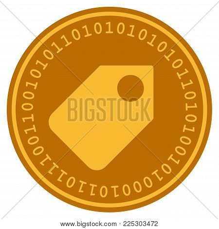 Token golden digital coin icon. Vector style is a gold yellow flat coin cryptocurrency symbol.