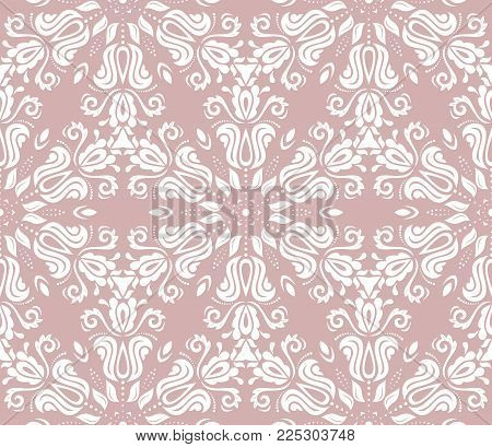 Classic seamless vector purple, white, pattern. Damask orient ornament. Classic vintage background