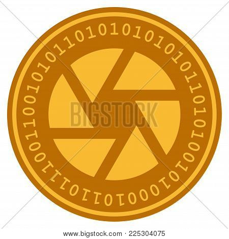 Shutter golden digital coin icon. Vector style is a gold yellow flat coin cryptocurrency symbol.