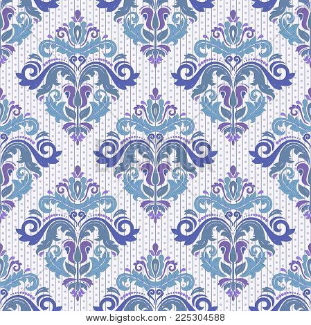 Classic seamless vector blue pattern. Damask orient ornament. Classic vintage background