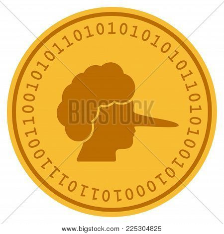 Lier golden digital coin icon. Vector style is a gold yellow flat coin cryptocurrency symbol.