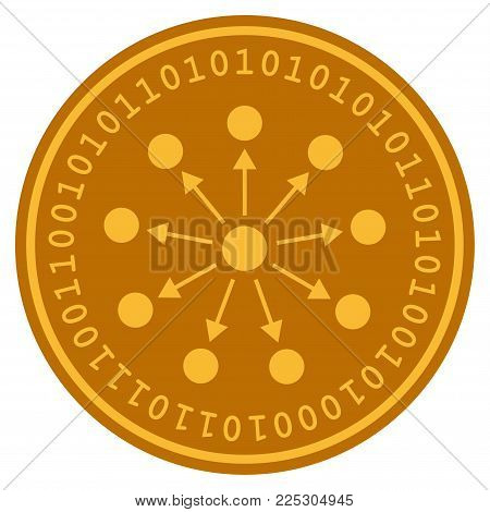 Bang Expanse golden digital coin icon. Vector style is a gold yellow flat coin cryptocurrency symbol.