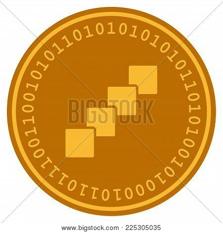 Blockchain golden digital coin icon. Vector style is a gold yellow flat coin cryptocurrency symbol.