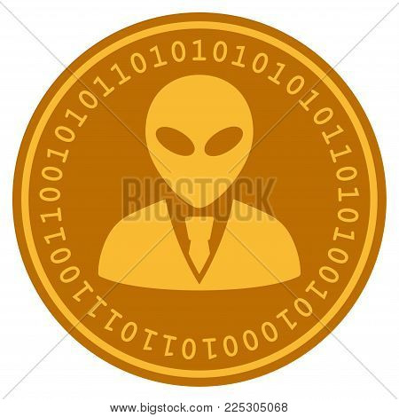 Alien Manager golden digital coin icon. Vector style is a gold yellow flat coin cryptocurrency symbol.