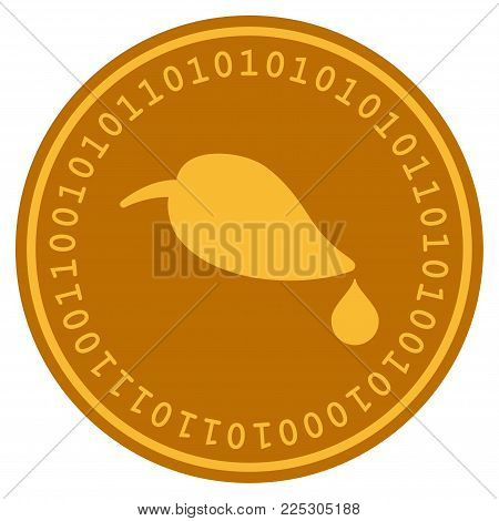 Natural Leaf With Drop golden digital coin icon. Vector style is a gold yellow flat coin cryptocurrency symbol.