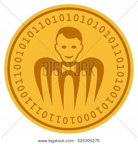 Croupier Monster golden digital coin icon. Vector style is a gold yellow flat coin cryptocurrency symbol.