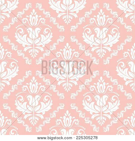 Orient vector classic pattern. Seamless abstract background with vintage elements. Orient pink and white background