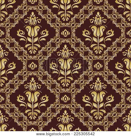 Orient vector classic brown and golden pattern. Seamless abstract background with vintage elements. Orient background