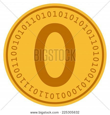 Zero golden digital coin icon. Vector style is a gold yellow flat coin cryptocurrency symbol.