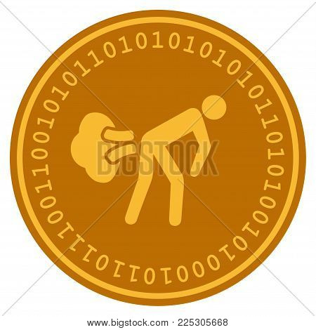 Fart Gases golden digital coin icon. Vector style is a gold yellow flat coin cryptocurrency symbol.