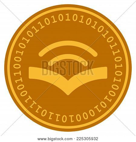 Audiobook golden digital coin icon. Vector style is a gold yellow flat coin cryptocurrency symbol.