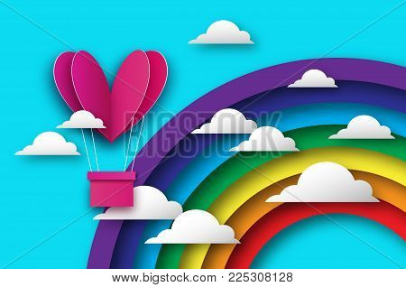 Heart shape Pink hot air balloon flying. Love in paper cut style. Origami Valentine day. Romantic Holidays. 14 February. Be my valentine. Blue sky with origami clouds and rainbow. Vector