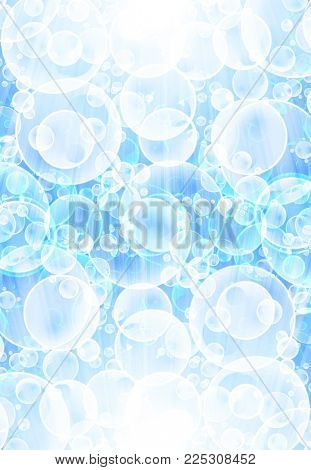 air bubbles floating in blue clear water