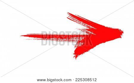red grunge arrow isolated on white background