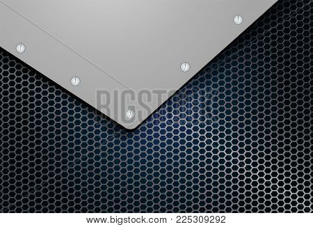 abstract geometric background, metal mesh grille with corner and bolts