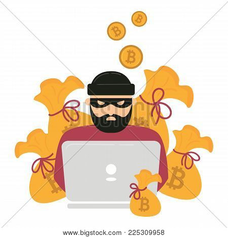 Hacker thief with notebook and bitcoin cryptocurrency. Web unsafe security concept. Swindler try to access internet transaction wallet and stole all currency. Bags of money. Electronic robbery