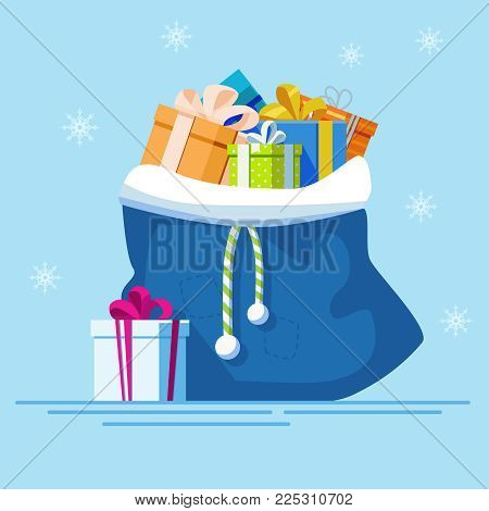 Blue bagfull of gifts. New year vector illustration