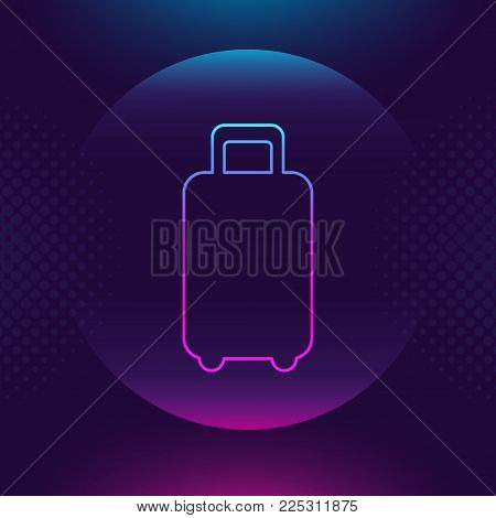 Baggage luggage outline vector icon. Flat thin button symbol. Neon luminous sign. Trip, traveling, travel concept. Ultra violet Trendy design web logo, mobile app, website social media, UI