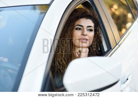 Smiling Arab Girl In Casual Clothes In The Street.