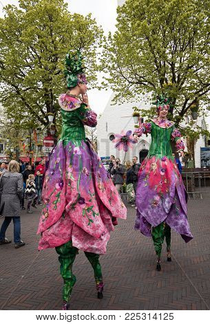 Noordwijkerhout, Netherlands - April 21,  2017: Women in colorful dresses walking on stilts  at the traditional flowers parade Bloemencorso from Noordwijk to Haarlem in the Netherlands