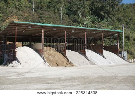 many type of Aggregate Stockpile at concrete mixing plant