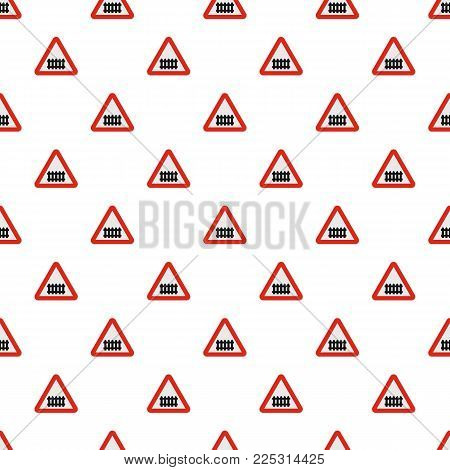 Railroad crossing with a barrier pattern seamless in flat style for any design
