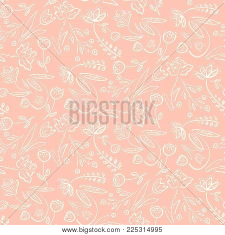 Tender seamless pattern with pink spring linear hand drawn floral motif. Romantic white meadow flowers on peach background texture for textile, wrapping paper, cover, surface, wallpaper