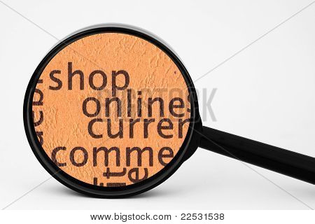 Close up of magnifying glass Shop online poster